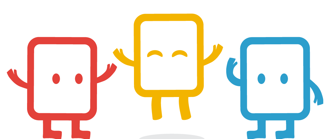 Yellow, Blue and Red Clear Books Mascots