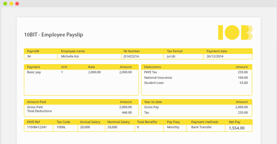 Online payroll software dashboard